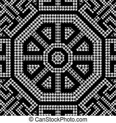 열쇠, pattern., 나뭇결이다, 꾸밈이다, octagons, houndstooth, meanders, grunge, 직물, 백색, 사냥개, 벡터, ornaments., 디자인, 반복, 검정, 이, 고전, 그리스어, 기하학이다, zigzag., 배경., seamless