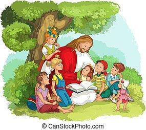 예수, 성경, 독서, 벡터, 기독교도, children., 삽화, 만화