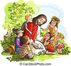 예수, 아이들, 독서, 성경