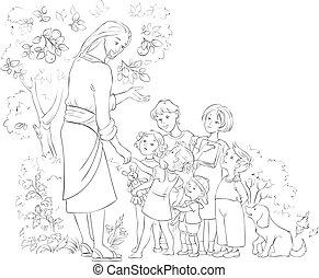 예수, 채색, 아이들, 페이지