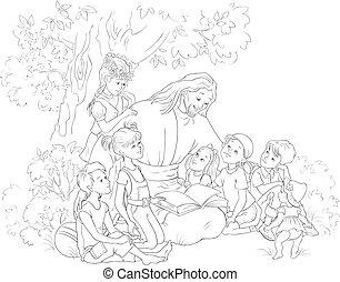 예수, 페이지, 성경, 채색, 독서, 아이들