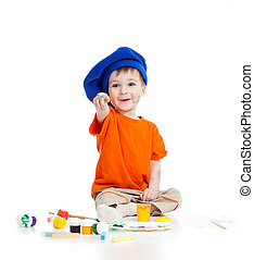 예술가 색깔, 페인트, 고립된, 아이, 백색, 숭비할 만한