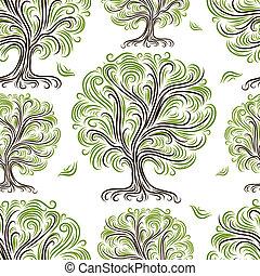 예술, 패턴, seamless, 나무, 디자인, 너의