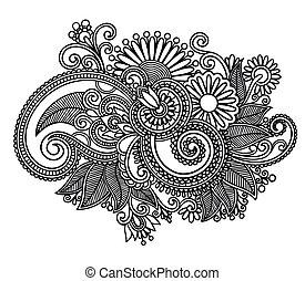 예술, 화려한, 디자인, 꽃, 선