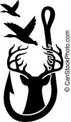 오리, 사슴, 디자인, 임신한, 갈고리, fishing)., (hunting