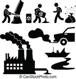오염, 세계, 녹색, 채찍질, 아이콘
