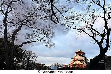 오오사까, season), 성, japan(winter, 오오사까