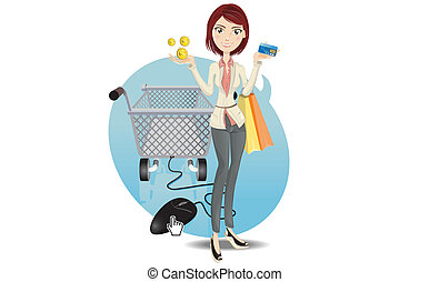 온라인의, 소녀, 쇼핑