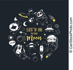 완전한, 귀여운, 직물, 개념, 동물, illustration., 공간, 방, 디자인, 실내복, 우주 비행사, 창조, 보육실, 헬멧, 밖이다, 키드 구두