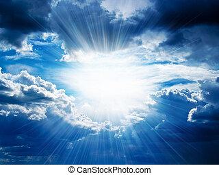 완전히, 중단, 광선, 구름, 햇빛