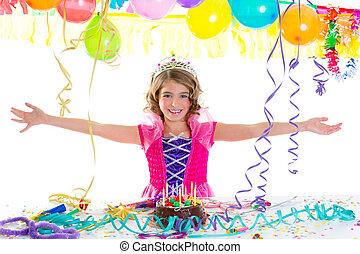 왕관, 생일, 아이, 파티, 공주, 아이