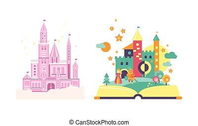 왕국, fairytale, 백색, 삽화, 이야기, 은 성을 쌓는다, 벡터, 배경, 요정, 열린 책