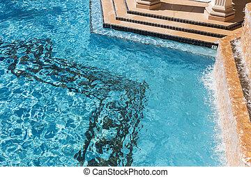 외래의, 떼어내다, 사치, 웅덩이, 수영