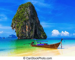외래의, 파랑, 해변., 하늘, 열대적인, 모래, 전통적인, 타이, 보트