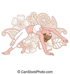 요가, pose., silhouette., 타당한 것, camatkarasana, 야생의, 여자