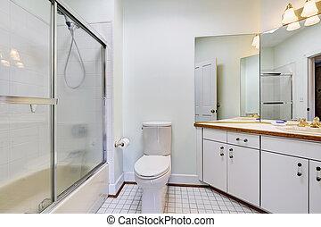 욕실, 문, 단일의, 샤워, 유리, 내부