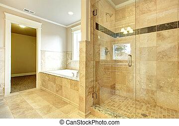 욕실, 문, 아늑한, 샤워, 유리, 통