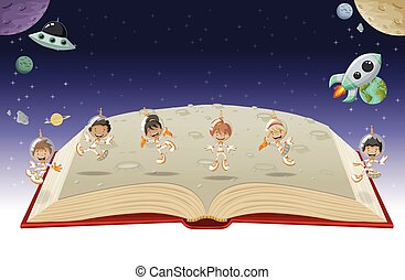 우주 비행사, 책, 열려라, 만화, 아이들