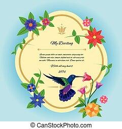 우편 엽서, 꽃, 새