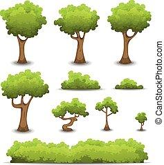 울타리, 부시, 세트, 나무, 숲