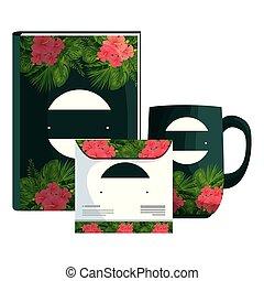원본, 과장된 표정, 열대적인, 책, 인쇄, 꽃