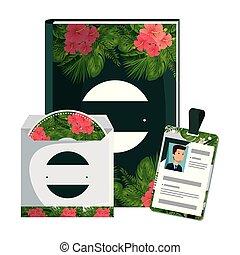 원본, cd, 열대적인, 책, 인쇄, 꽃