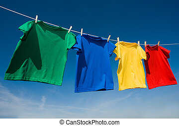 원색, 착색되는, t셔츠, 빨랫줄