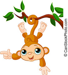 원숭이, 아기, 전시, 나무
