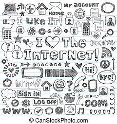 웹, 세트, 낙서, 벡터, 인터넷 아이콘