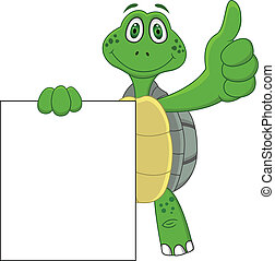 위로의, 만화, 거북, 엄지손가락