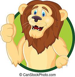 위로의, 만화, 사자, 엄지손가락