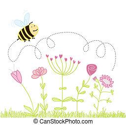 위의, 꽃, 꿀벌
