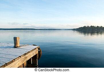 위의, 보이는 상태, 호수, 평온