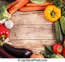 유기체의, 공간, 야채, text., 음식., 나무, 배경