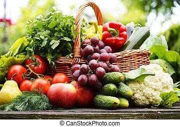 유기체의, 정원, 고리버들 세공, 야채, 바구니, 신선한