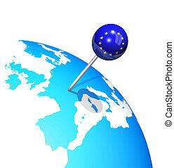 유럽, 지도, 지구, 핀, 3차원