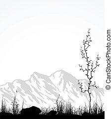유리, 나무., 산, 조경술을 써서 녹화하다