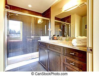 유리, 욕실, shower., 나무, 내각