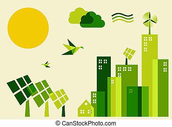 유지할 수 있는, 도시, 개념, 발달, 삽화