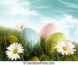 은 계란을 꾸몄다, 풀, 부활절, 데이지