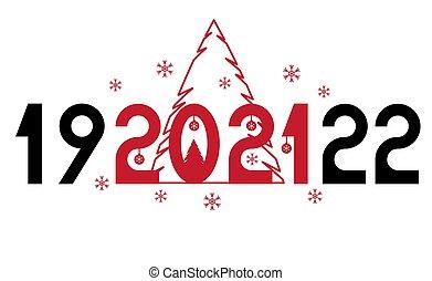 은 계산한다, 카드, 플라이어, 휴일, 기구, 선물, 새로운, spruce., 웹사이트, 행복하다, 벡터, 2021, 너의, 초대, 년, advertisements., 인사, text., 헤더, 본뜨는 공구
