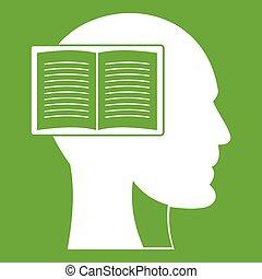 은 머리를 열n다, 책, 녹색, 아이콘