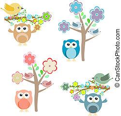 은 분기한다, 착석, 나무, 올빼미, 꽃 같은, 새