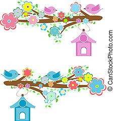 은 분기한다, 착석, 한 쌍, 카드, birdhouses, 새