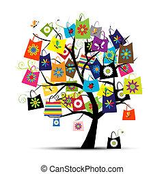 은 자루에 넣는다, 디자인, 쇼핑, 너의, 나무