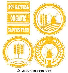 음식, 상표, 수집, 고무 도장, 곡물, 곡물, 오렌지, 제품, 전체