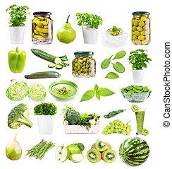 음식, 여러 가지이다, 배경, 고립된, 녹색의 백색