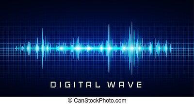 음파, 전류를 고주파로 변환시키는, 떼어내다, 파도, -, 빛, 벡터, 배경, 디지털 기술, 백열