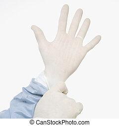 의사, gloves.