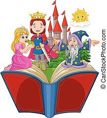 이야기, 개구리, 만화, 책, 열려라, 왕자